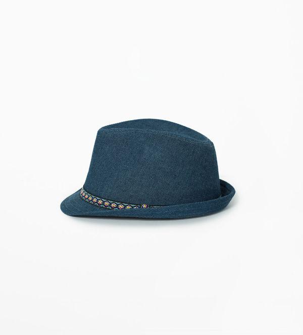 zara dzinsowy kapelusz z folkowym otokiem 45,90